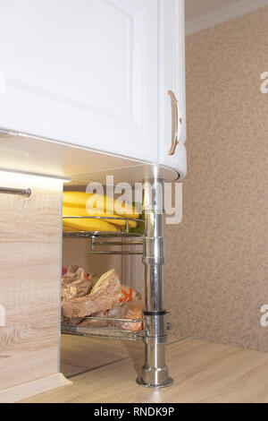 White modern kitchen from solid oak. Modern kitchen. White kitchen. Russia, St. Petersburg, Murino February 10 2019 - Stock Photo