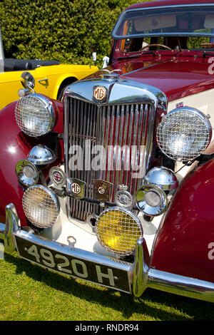 People, Crowds, Exhibits, Classic Cars, Old Gaffers Festival, Buskers, Marching band, Yarmouth, Isle of Wight, England, UK, - Stock Photo