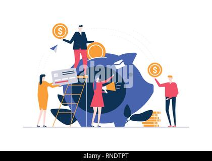 Fundraising concept - colorful flat design style illustration - Stock Photo