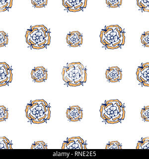Gold flowers pattern. style on white background. Spring collection for fashion, textile - Stock Photo