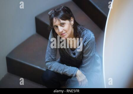 Barcelona, Spain. 18th Feb, 2019. Chilean writer Alejandra Costamagna poses for the photographers during the presentation of her last book ' El sistema del tacto' (Lit: The touch system) in Barcelona, Catalonia, Spain, 18 February 2019. Credit: Marta Perez/EFE/Alamy Live News - Stock Photo