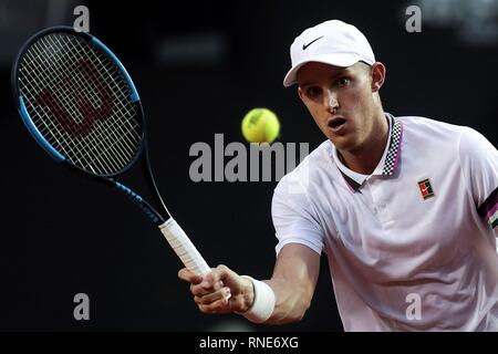 Rio De Janeiro, Brazil. 18th Feb, 2019. Nicolas Jarry of Chile returns a ball to Roberto Carballes Baena of Spain during the first day of Rio Open in Rio de Janeiro, Brazil, 18 February 2019. The sixth version of the Rio Open tournament runs between 18 and 24 February 2019. Credit: Antonio Lacerda/EFE/Alamy Live News - Stock Photo