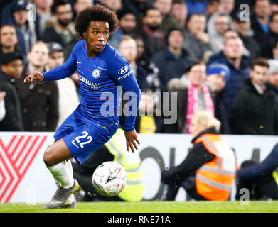 London, UK. 18th Feb, 2019.  Chelsea's Willian during FA Cup Fifth Round between Chelsea and Manchester United at Stanford Bridge stadium , London, England on 18 Feb 2019 Credit Action Foto Sport  FA Premier League and Football League images are subject to DataCo Licence. Editorial use ONLY. No print sales. No personal use sales. NO UNPAID USE Credit: Action Foto Sport/Alamy Live News - Stock Photo