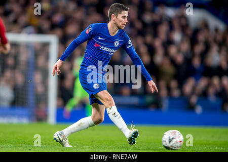 London, UK. 18th Feb, 2019. Jorginho of Chelsea during the The FA Cup 5th round match between Chelsea and Manchester United at Stamford Bridge, London, England on 18 February 2019. Photo by Salvio Calabrese. Editorial use only, license required for commercial use. No use in betting, games or a single club/league/player publications. Credit: UK Sports Pics Ltd/Alamy Live News - Stock Photo