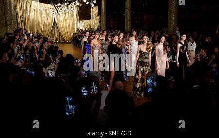 London, UK. 17th Feb, 2019. LONDON, ENGLAND - FEBRUARY 17: A model on the runway during the Kristian Aadnevik show during London Fashion Week Autumn/Winter 2019 on February 17, 2019 in London, United Kingdom. Photo by Paul Cunningham Credit: Paul Cunningham/Alamy Live News - Stock Photo