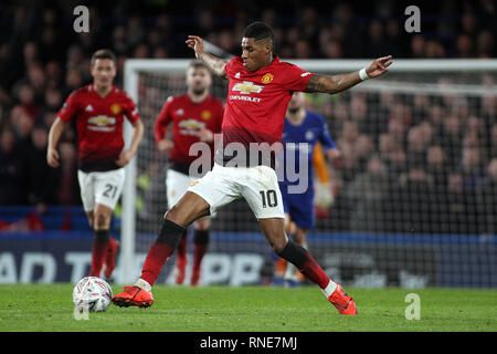 London, UK. 18th Feb, 2019. Marcus Rashford of Manchester United in action. The Emirates FA Cup, 5th round match, Chelsea v Manchester United at Stamford Bridge in London on Monday 18th February 2019. this image may only be used for Editorial purposes. Editorial use only, license required for commercial use. No use in betting, games or a single club/league/player publications. pic by Steffan Bowen/ Credit: Andrew Orchard sports photography/Alamy Live News - Stock Photo