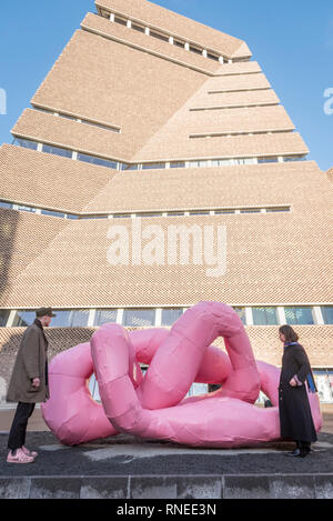 London, UK.  19 February 2019. Gallery staff view 'Rrose (Drama)', 2001, by Franz West. Preview of a major exhibition of the work of Franz West (1947-2012), the first posthumous retrospective of the artist's work ever staged in the UK.  Almost 200 works are on display at Tate Modern 20 February to 2 June 2019. Credit: Stephen Chung / Alamy Live News - Stock Photo