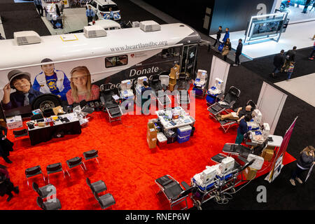 Chicago, IL, USA - February 10, 2019: Blood donation point at the 2019 Chicago Auto Show. - Stock Photo
