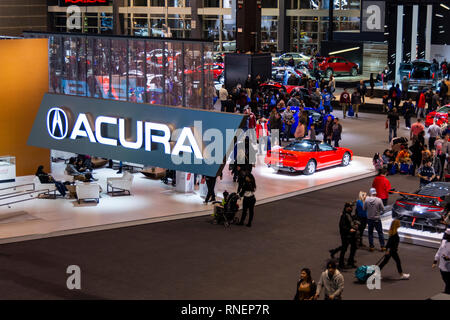 Chicago, IL, USA - February 10, 2019: Overhead shot of the Acura booth at the 2019 Chicago Auto Show. - Stock Photo