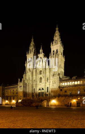 Santiago de Compostela Cathedral view at night. Cathedral of Saint James pilgrimage. Obradoiro square, Galicia, Spain