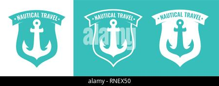 Set of Turquoise Badge with Anchor of Ship - Stock Photo