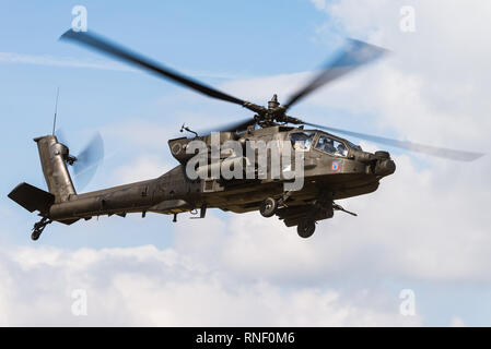 A Boeing AH-64 Apache attack helicopter from the 12th Combat Aviation Brigade of the US Army at the Belgian Helidays 2017. - Stock Photo