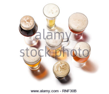 Beer Glasses isolated on white background. Top view - Stock Photo