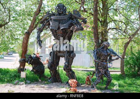 transformer and robotics, sculptures by Alexander Braga, Gvardeysk, Kaliningrad region, Russia, may 1, 2018 - Stock Photo