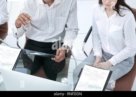 business team prepares for the beginning of the working meeting - Stock Photo