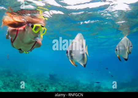 Happy family - active woman in snorkeling mask dive underwater, see tropical fishes in coral reef sea pool. Travel adventure, swimming activity