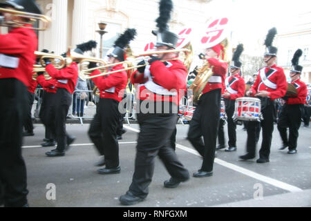 England, London, Westminster, Piccadilly, New Year's Day Parade, a special band performing as they walk through the cheering crowds. - Stock Photo