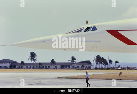 A Concorde supersonic aircraft at Grantley Adams International Airport after flying Queen Elizabeth II to Barbados on a royal tour, Caribbean, 1989 - Stock Photo