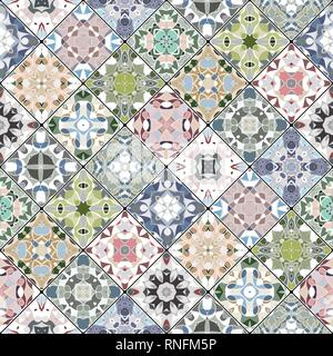 Abstract patterns in the mosaic set. Square scraps in oriental style. Vector illustration. Ideal for printing on fabric or paper. - Stock Photo