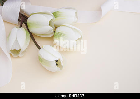 Beautiful fake white tulips with ribbon in pastel background. Concept for Mother's Day celebration with copy space. - Stock Photo