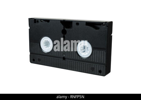 VHS video tape cassette isolated on white background. back view - Stock Photo
