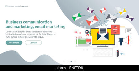 Business communication and email marketing. Send or receive email, digital marketing, analytics and strategy. Template in flat design for web banner o - Stock Photo