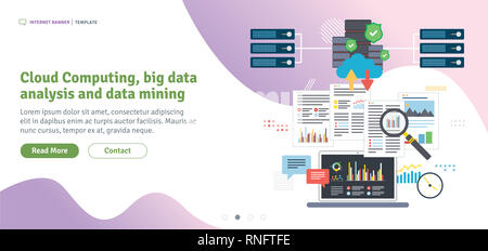 Cloud Computing, big data  analysis and data mining. Laptop accessing data from cloud computers. Data network and business intelligence. Flat design f - Stock Photo