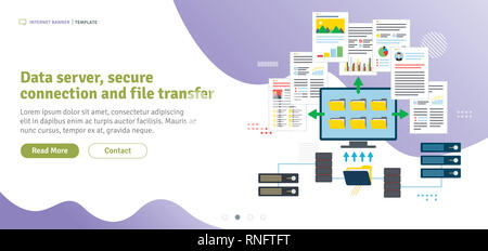 Data server, secure connection and file transfer. Cloud storage, backup and file sharing. Data server access, file access and data sharing. Flat desig - Stock Photo