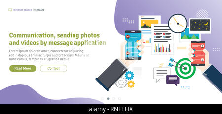 Communication, sending photos and videos by message application, sharing of data files.Concept of business and communication, social media and interne - Stock Photo
