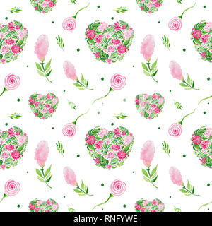 Flowers watercolor illustration pattern seamless Set of Red flowers and green leaves on white background. - Stock Photo