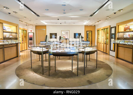 NEW YORK - APRIL 06, 2016: Cartier store in JFK Airport. Societe Cartier designs, manufactures, distributes and sells jewellery and watches. Founded i - Stock Photo
