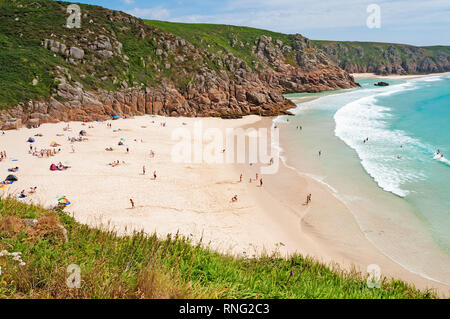 porthcurno beach, cornwall, england. - Stock Photo