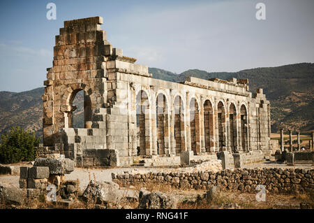 The Basilica at Volubilis is a partly excavated Berber and Roman city in Morocco near the city of Meknes, and considered the kingdom of Mauretania. - Stock Photo