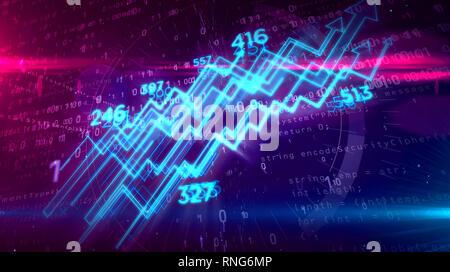 Digital business chart on digital background 3D illustration. Stock, market abstract concept.