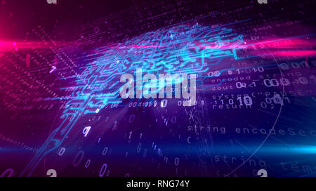 Cybernetic brain, deep machine learning and artificial intelligence concept 3D illustration. Working cyber mind on dynamic digital 3D background. - Stock Photo
