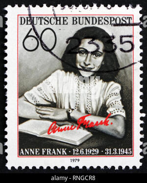 GERMANY - CIRCA 1979: a stamp printed in the Germany shows Anne Frank, Author, Victim of the Holocaust, circa 1979 - Stock Photo