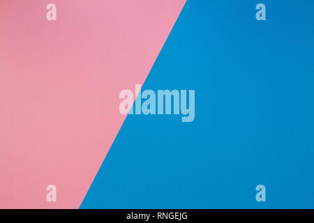Blue and pink two tone diagonal devided color paper background - Stock Photo