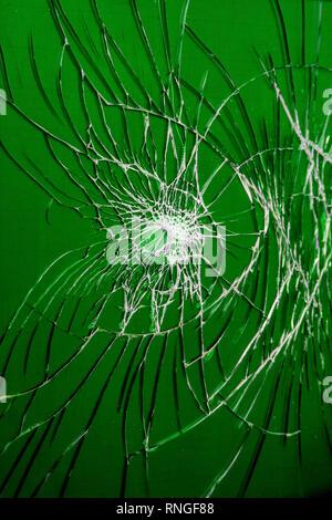 Smashed Screen Vandalized Broken Glass Close Up - Stock Photo