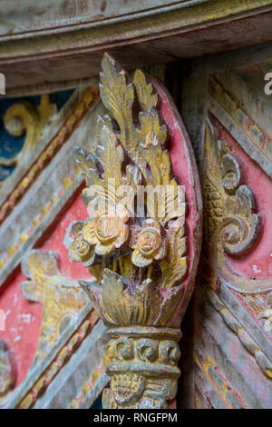 Traditional local balinese ornaments carved in wood by local craftmen by hands - Stock Photo