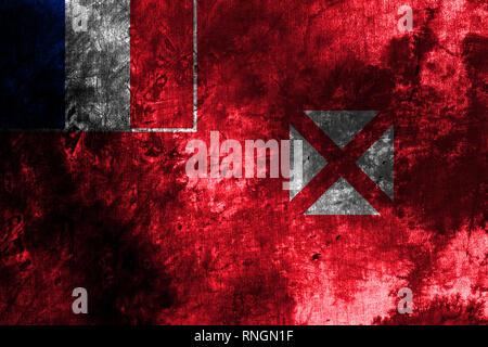 Wallis and Futuna grunge flag, France dependent territory flag - Stock Photo
