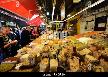 A Halva stall at the Carmel market in Tel-Aviv. - Stock Photo