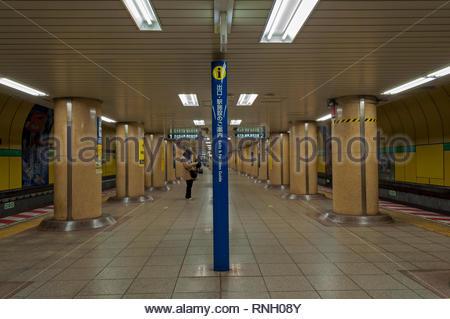 Tokyo, Japan - December 31, 2018: A woman waits for the Tokyo Metro Subway in Shin-Ochanomizu station in Tokyo, Japan. - Stock Photo
