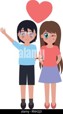 girl and boy love anime - Stock Photo