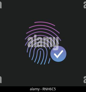 Fingerprint Success Icon, thumbprint with checkmark. vector illustration isolated on black - Stock Photo