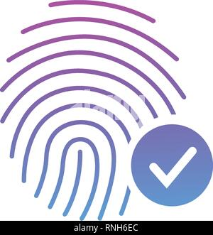 Fingerprint Success Icon, thumbprint with checkmark. vector illustration isolated on white - Stock Photo