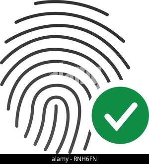 Fingerprint Success Icon, thumbprint with checkmark. vector illustration isolated on white. - Stock Photo
