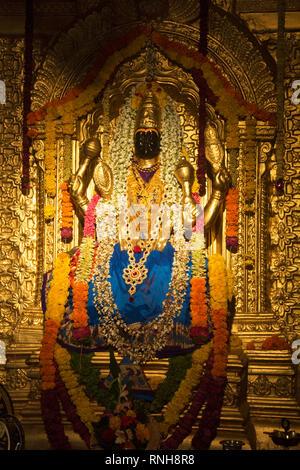 Sculpture of goddess Lakshmi Narayani at replica of Sripuram Lakshmi Narayani Golden Temple, Vellore, Tamil Nadu during Ganpati Festival, Pune - Stock Photo