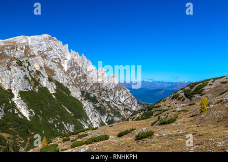View from Strudelkopfsattel on Duerrenstein mountain, Dolomites, South Tyrol - Stock Photo