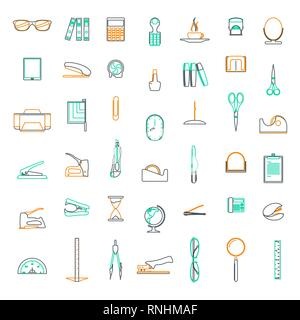 Vector line icons Set in flat design office and business with elements for mobile concepts and web apps. - Stock Photo