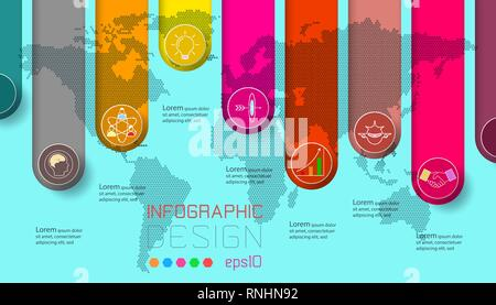 Six labels with business icon and world map background infographics. - Stock Photo